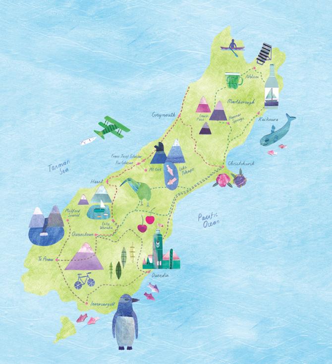 New Zealand Gourmet Travel Map Lianne Harrison Illustration